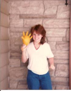 High school me and my rubber glove chicken.  Yup, I was a dork.