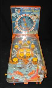 I don't think my mini pinball game had astronauts on it--but it was orange.