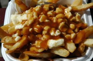 Mm.  Fries, Gravy, and cheese curds=poutine.