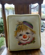 clown pillow handstitched